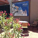 Outdoor dining at Aegean Restaurant