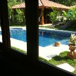 View out to pool from kitchen