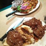 Ribeye sandwich with okra and open faced roast beef with mashed potatoes/gravy.  Yumm-O!