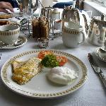  Smoked Haddock with poached egg and lovely silver teapot!
