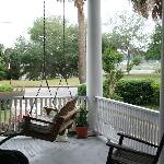 The front porch looking to the waterfront as seen from