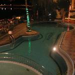 pool view at night from room
