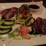 ahi trio (ahi poki, carpaccio, and blackened)