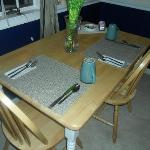 Dining table in room.
