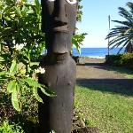 Moai outside the hotel bar.