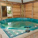 the hot tub, nice and cosy at night