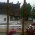 the morning alms about to start, view from window at my room