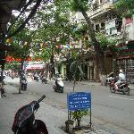 looking right down Hang Dieu Street,