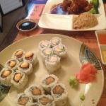 sushi combo plate and dinner generals chicken plate