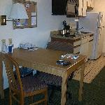 Desk and kitchenette area