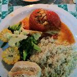  Wonderful dinner of stuffed tomatoes, rice and veggies