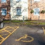 Disabled parking at front of hotel