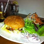 Salmon burger with salad - neat smoked flavor on salmon