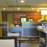 the front desk and coffee area