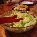  Our meal at Babe&#39;s started with cool salad and homemade biscuits.