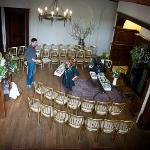 Decorating the main hall in advance of the wedding ceremony