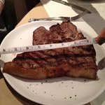  t bone steak- measuring in at 8 inches! (my friend happened to have a tape measure!)