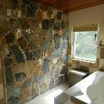 Stone & sea shell wall in the master bath