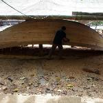 Wooden boat builder in Sanniangwan Village