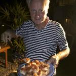  Paul Kacin (the owner) with bbq shrimp