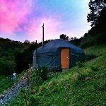View of sun setting over our Yurt