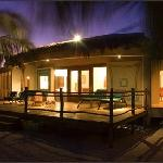 Villa Emerald exterior at night
