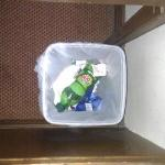 previous guests rubbish still in bin