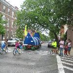 Parade of bicycle floats 2 blocks from B&B