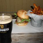 fish burger w/Guinness & duck fat fries