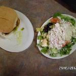 huge burger and 'greek' salad..