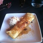 maple bacon ice cream with cream cheese filled crepe