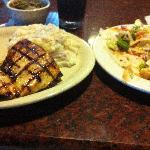 Grilled chicken, mashed potatoes, and yummy salad