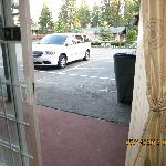 View of our car and parking lot that was torn out - 3 feet from our front door