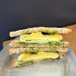 Pesto breakfast sandwich