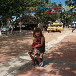 Our daughter on Taganga's main street/boardwalk in front of the bahia