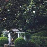 The historic gazebo was the summer dining room and features the original stone cooking fireplace