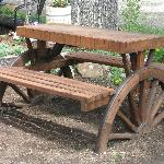 Wagon Wheel Benches for Outside Dinning