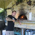  Making homemade pizza in the outdoor oven