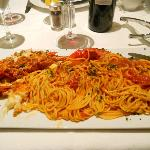 Large pasta portion with lobster