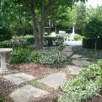 Bird bath and stone path
