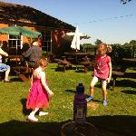 playing in the beer garden