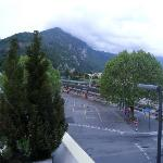 from the balcony of the Hotel, view of interlaken west station