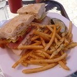  Turkey and Roasted Bacon Sandwhich with garlic fries