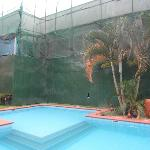 Across the pool to the renovation in progress