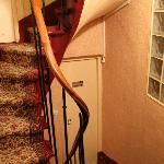 The spiral stairs was very narrow. Go up or down stairs with luggages is very dangerous.