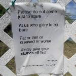 sign on the gate to the 4th beach - says it all