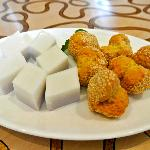  coconut jello and fried sesame balls