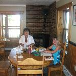  Winter, my granddaughter 9yrs., with me Runa 66 enjoying breakfast.