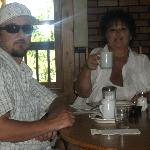 Joshua 32, with mom, at breakfast at Hahn's Peak BB, & RESTAURANT