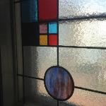 staines-glass windows in corridors